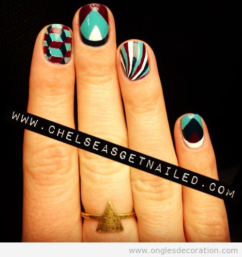 Déco ongles motif géometrique