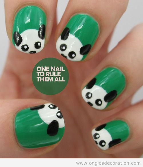 dessin sur les ongles panda d coration d 39 ongles tout sur le nail art la dec ration. Black Bedroom Furniture Sets. Home Design Ideas