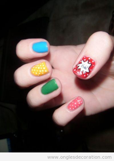 Déco sur ongles pop art