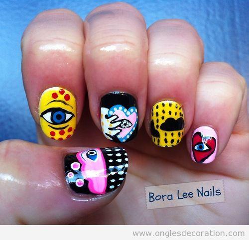 Dessin sur ongles inspiré de graffitti pop