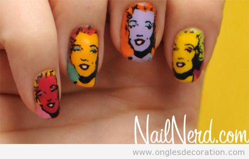 Déco ongles avec des dessin de Marilyn Monroe par Andy Warhol