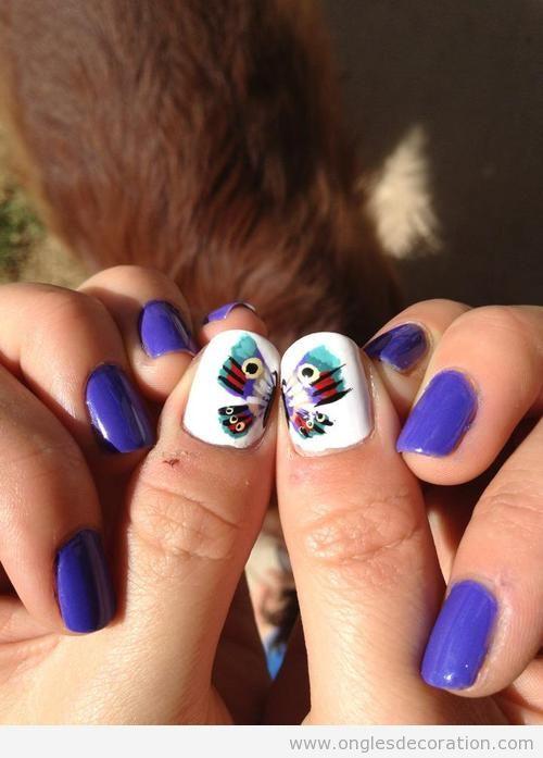 Dessin ongles papillon