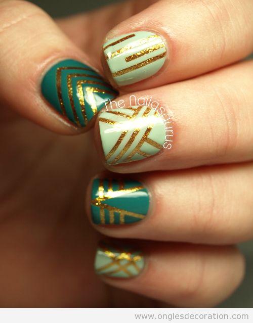 Dessin sur ongles verd, turquoise et doré