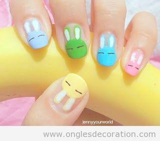 Déco sur ongles avec des chouettes lapins