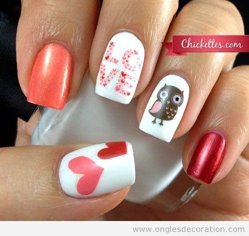 Dessin sur ongles pour Saint Valentine