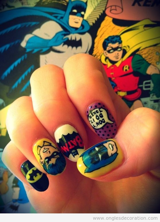 Déco sur ongles, bande dessiné, Batman et Robin