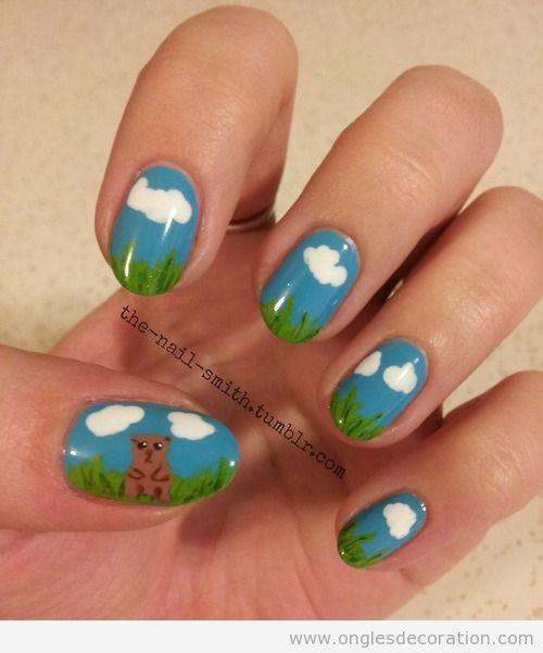 Déco sur ongles inspiré de Le Jour de la Marmotte