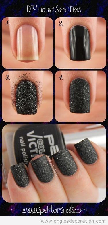 Déco ongles pas a pas, effet sable