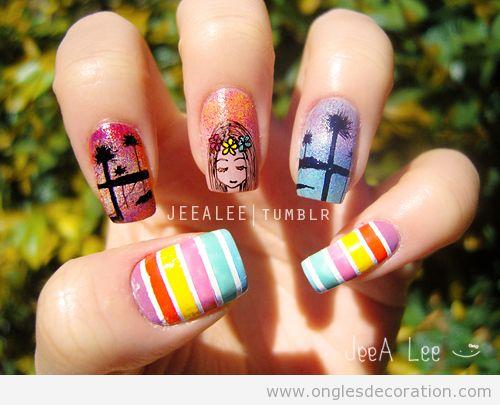 Dessin sur ongles inspiré de Hawaii