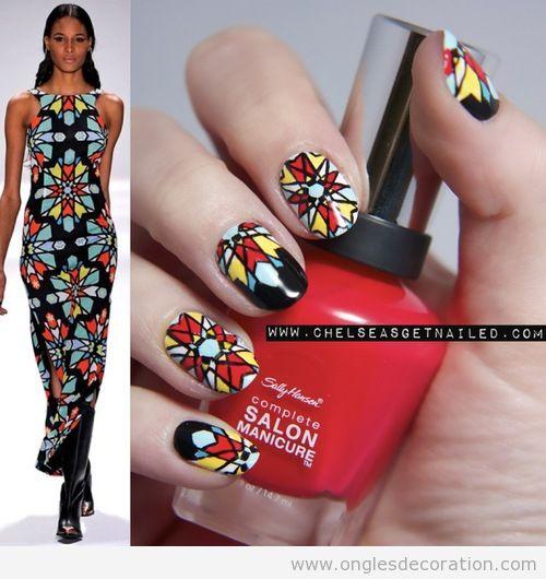 Dessin sur ongles inspiré d'une veste de Mara Hoffman