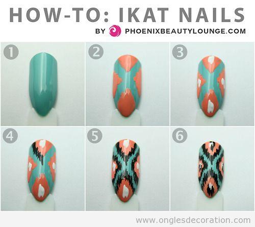 Comment dessiner le motif ikat sur les ongles, tuto pas à pas