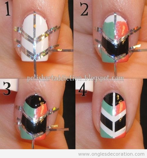 chevron d coration d 39 ongles nail art. Black Bedroom Furniture Sets. Home Design Ideas