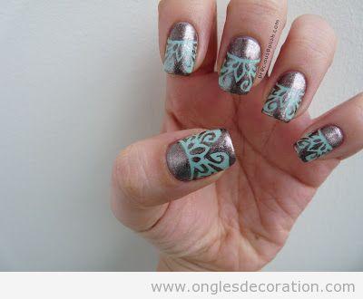 Déco sur ongles, bronze avec dentelle turquoise