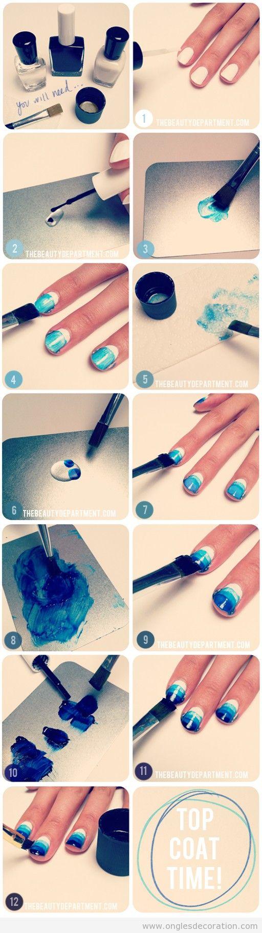 Tuto déco sur ongles, effet aquarelle en bleu