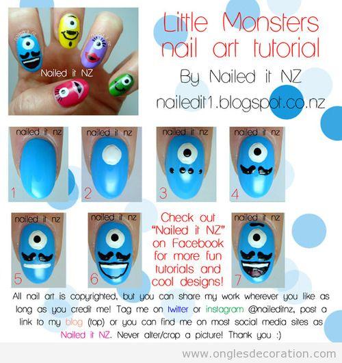Tuto, dessin sur ongles avec de petit monstres moustaches
