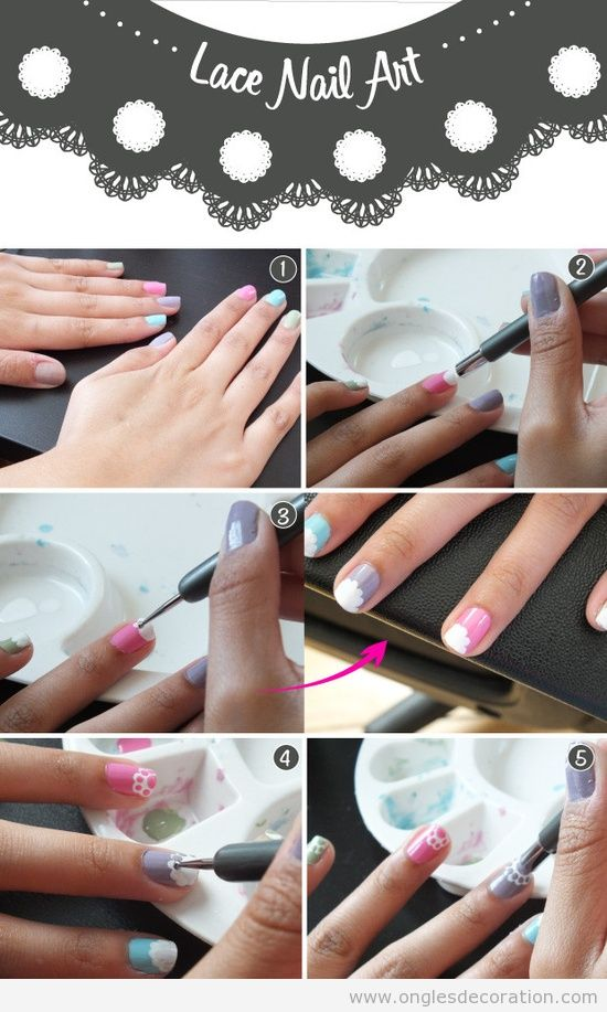 Tutoriel, comment dessiner une dentelle sur les ongles pas à pas