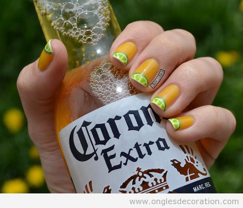 Dessin sur ongles, citron et Coronita