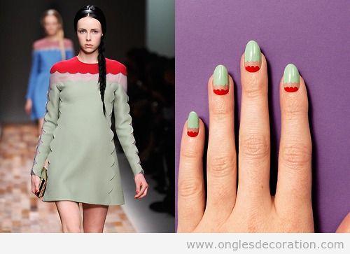 Déco sur ongles inspiré d'un veste de valentino, automne 2013
