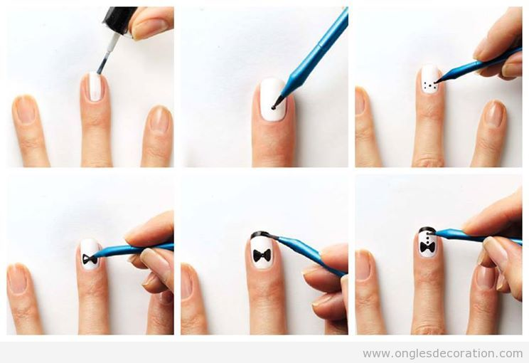 Comment dessiner un smoking sur les ongles tout simple for Dessin ongle facile a faire