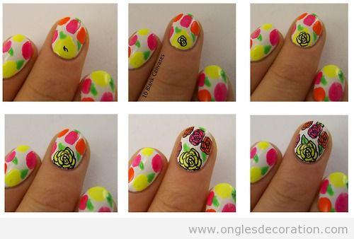 tutoriel pas à pas, dessin sur ongles, roses en néon