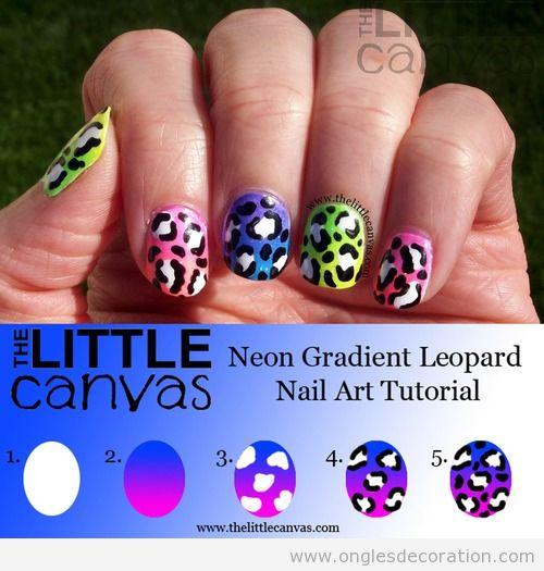 Tuto, déco sur ongles, motif léopard en néon