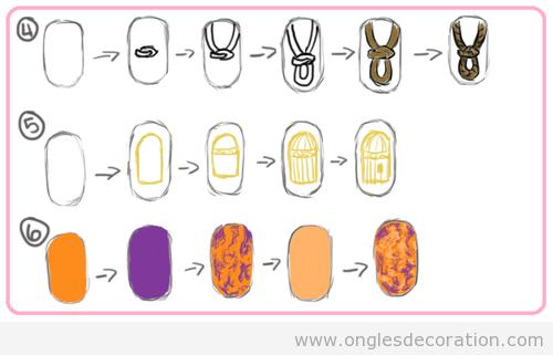 Trois dessins sur ongles pas a pas, cage, noeud marin et tribale