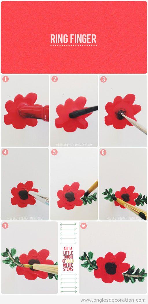 Comment dessiner une fleur, branches et feuilles sur les ongles, tuto