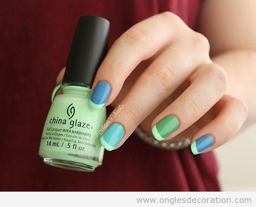 Manucure française funky, couleurs vert et bleu