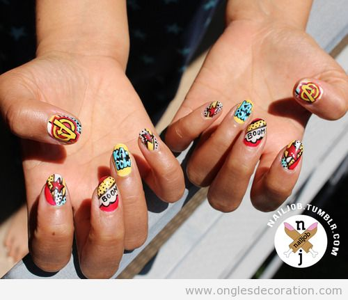 Dessin sur ongles avec bande dessiné pour aller à la Comic-Con