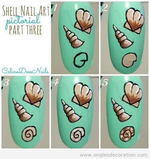 Tuto pas à pas, comment dessiner fruits de mer sur les ongles