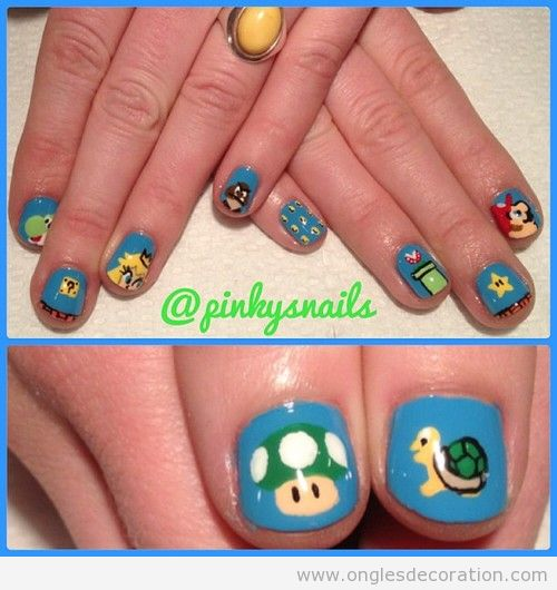 Dessin sur ongles, personnages de Mario Bros