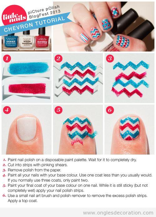 Tuto pas à pas, déco sur ongles en zigzag, ruban adhesif