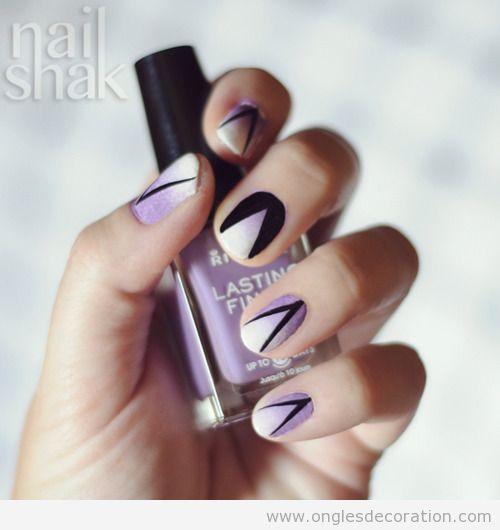 Déco sur ongles, degradé en violet