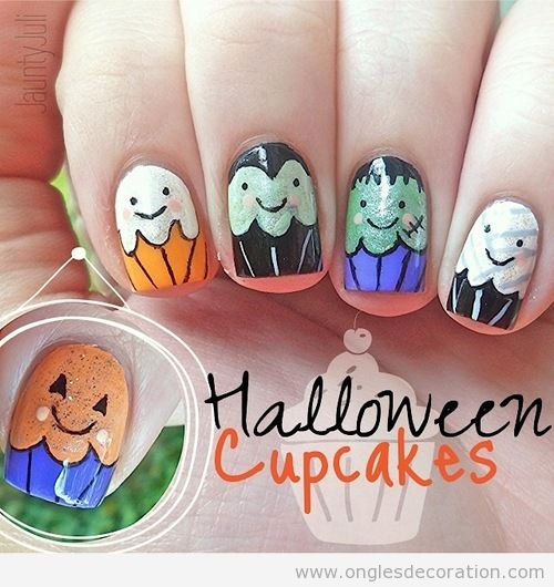 Dessin sur ongles pour Halloween, cupcake