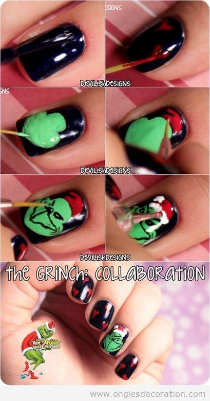 Tuto, comment dessiner le Grinch sur les ongles, pas à pas