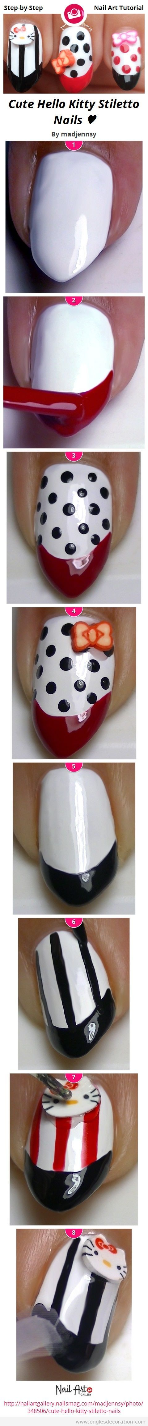 Tuto dessin ongles rayures et pois, Hello Kitty