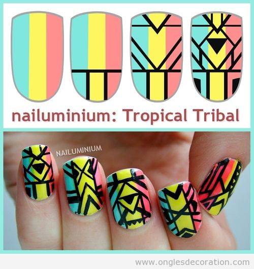 Tuto dessin sur ongles, motif tribal et tropical