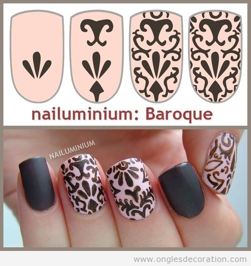 Tutorial paso a paso, Nail Art estampado barroco