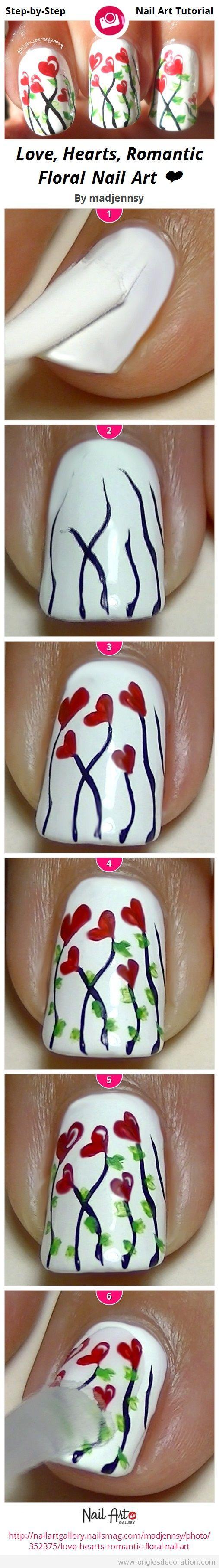 Tuto dessin ongles fleurs et coeurs