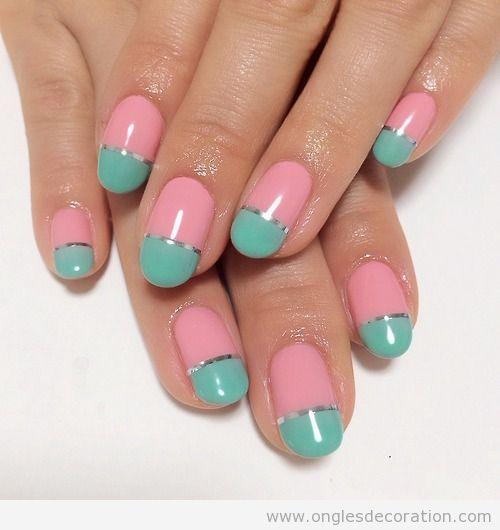 Déco ongles printemps en rose et turquoise