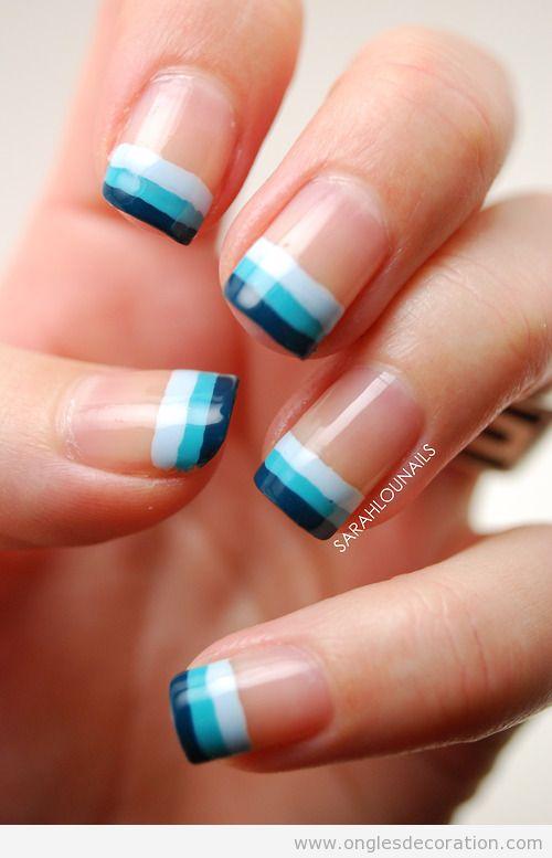 Déco ongles simple à rayures pour l'été