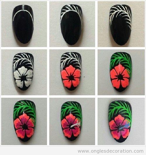 Tuto, comment dessiner ongles fleurs tropicale