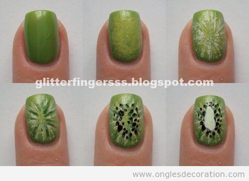 Tuto dessin ongles kiwi