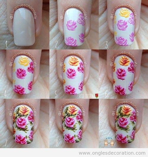 Comment dessiner des roses sur le déco sur ongles, tuto