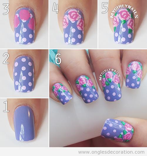 Comment réaliser une déco sur ongles, motif pois et dessins de roses, tuto