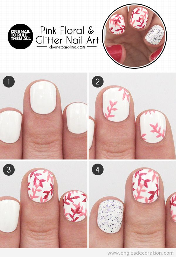 Tuto dessin ongles branches roses