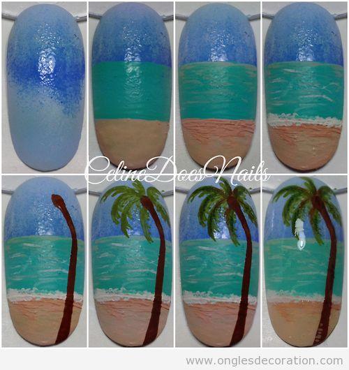 Tuto déco ongles, comment dssiner une plage et un palmier