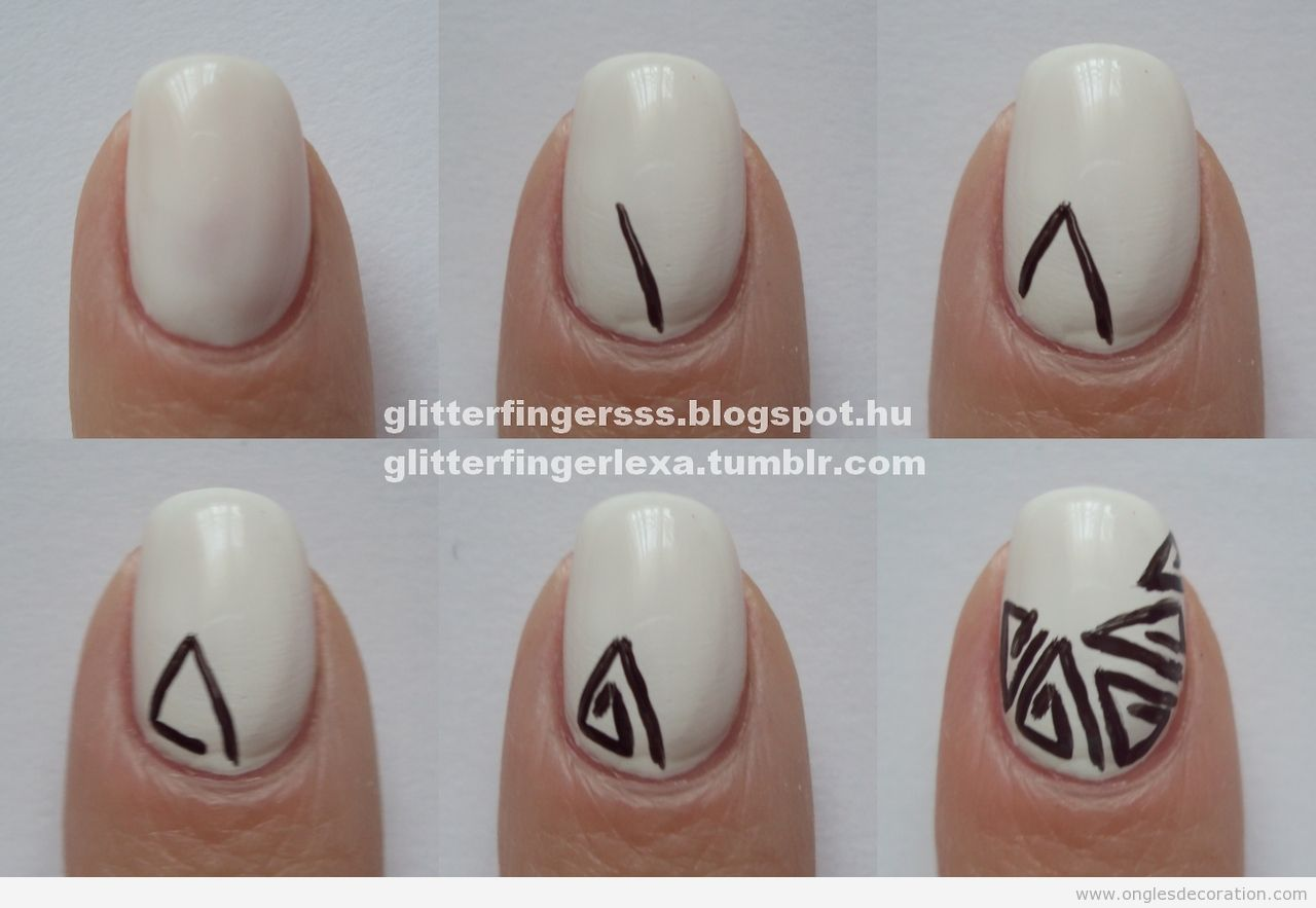Tuto déco ongles motif tribale en triangles