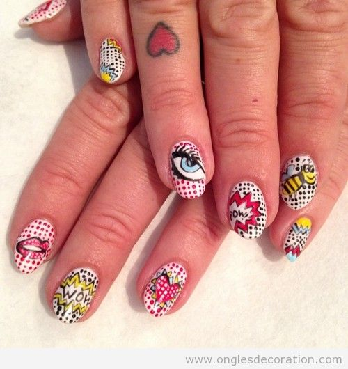 Dessin ongles Pop Art,  Roy Lichtenstein