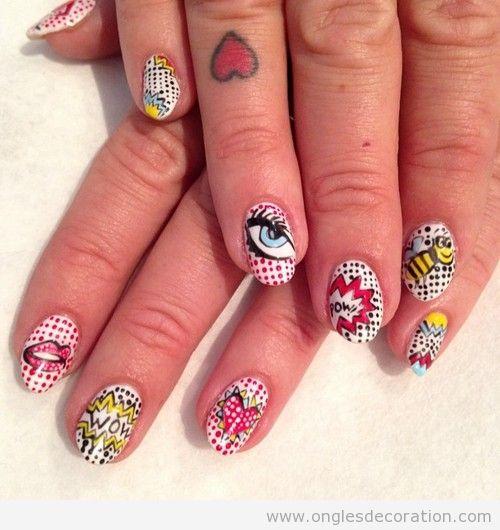 pop art d coration d 39 ongles nail art. Black Bedroom Furniture Sets. Home Design Ideas
